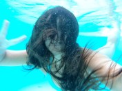 playing with our new underwater camera.