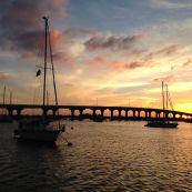Sunset behind the Merril P. Barber Bridge.