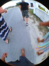 Walking to Eddies for the Rake and Scrape.