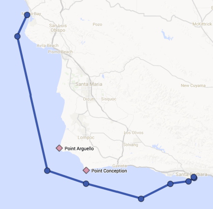 Route from Morro Bay to Santa Barbara