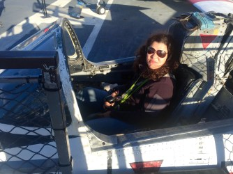 Viv in the cockpit of a T-2 Buckeye.