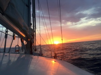 Sailing into the sunrise across the Sea of Cortez.