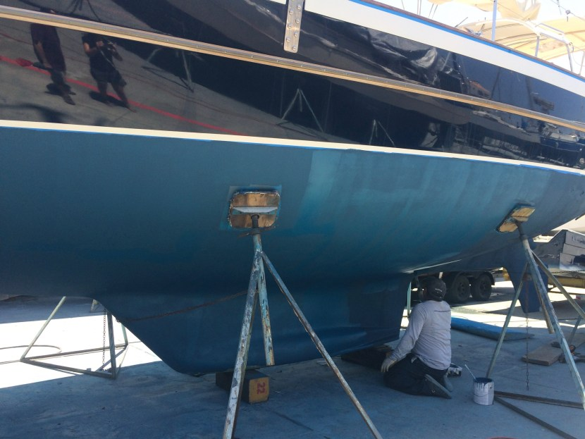 Applying bottom paint