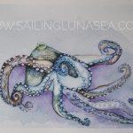 sailing luna sea original watercolor octopus art artist