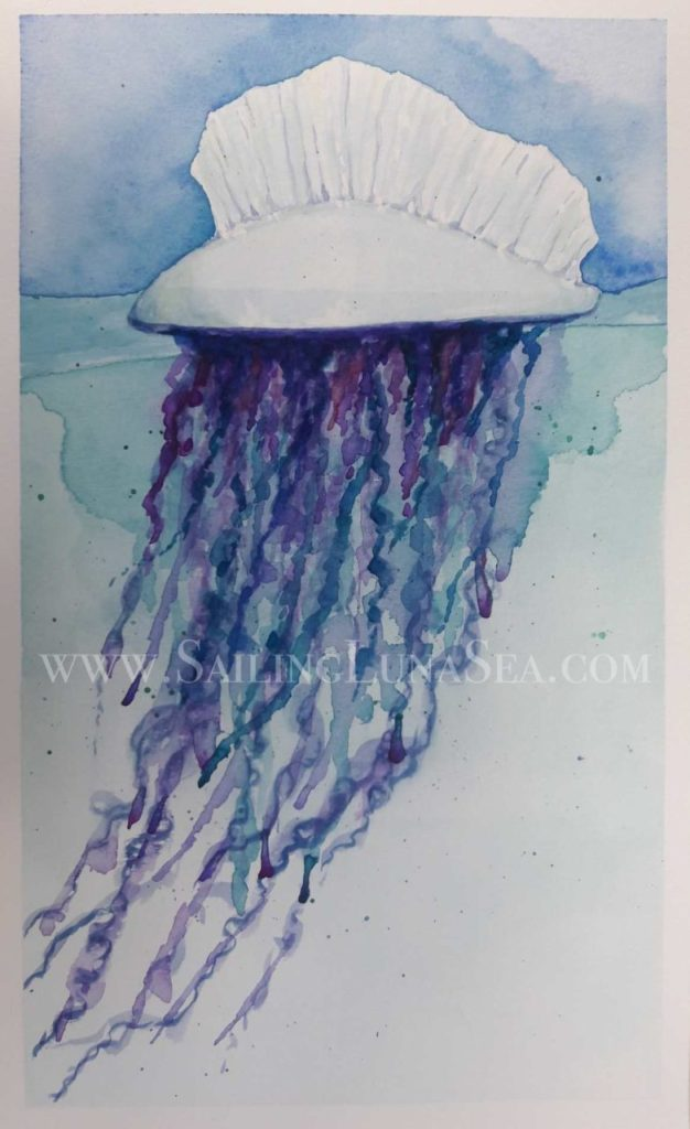 art sailing luna sea original watercolor painting manpower