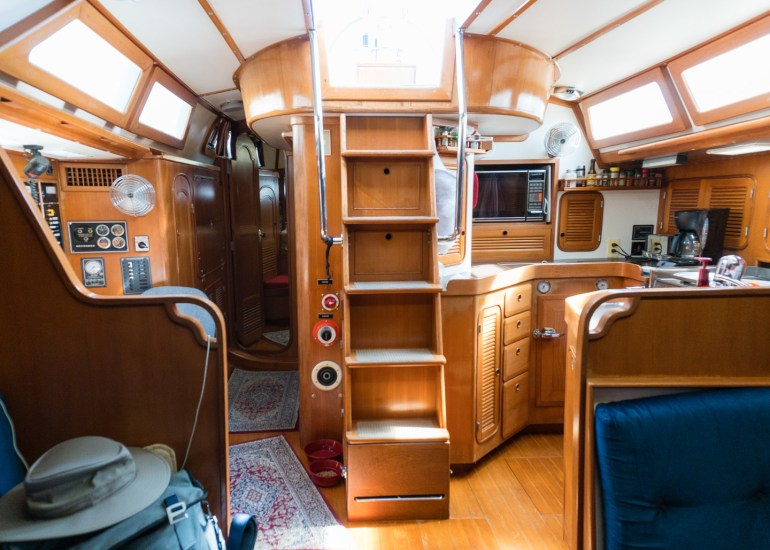 The main saloon cabin looking aft