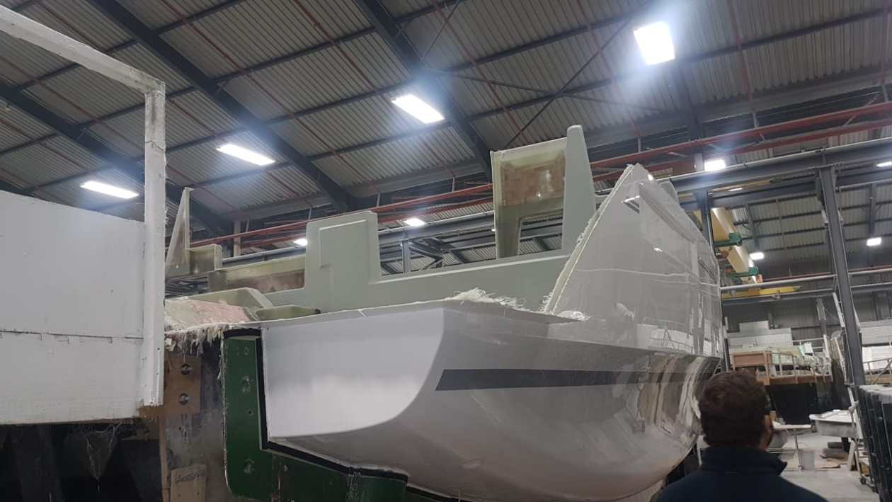 Fiberglass construction of hull of Leopard 40 in Robertson and Caine factory in Cape Town, South Africa