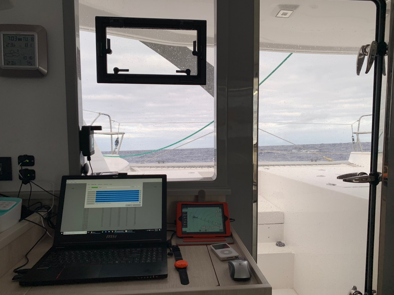 Downloading grib files on PredictWind during South Atlantic ocean crossing