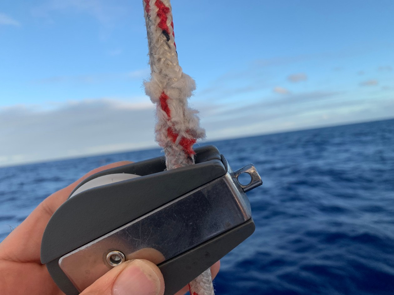 Spinnaker halyard chafing during South Atlantic ocean crossing