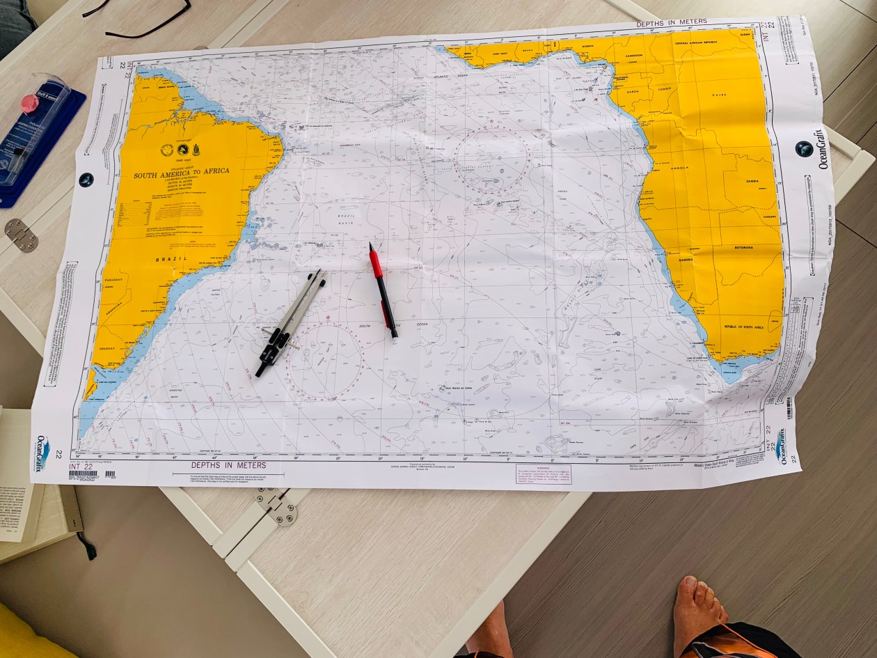 Plotting out position on the chart during the South Atlantic ocean crossing