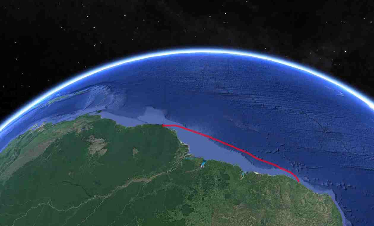 Our track from Brazil to French Guiana