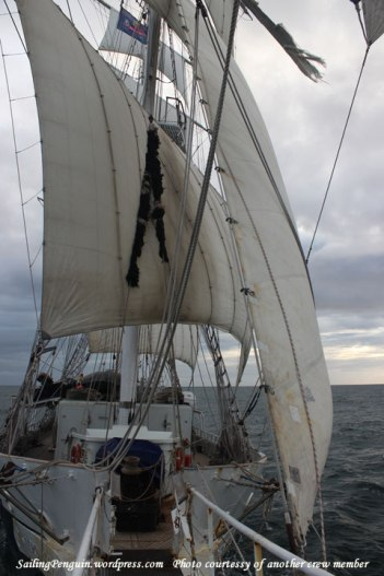 View of the ship from the bowsprit