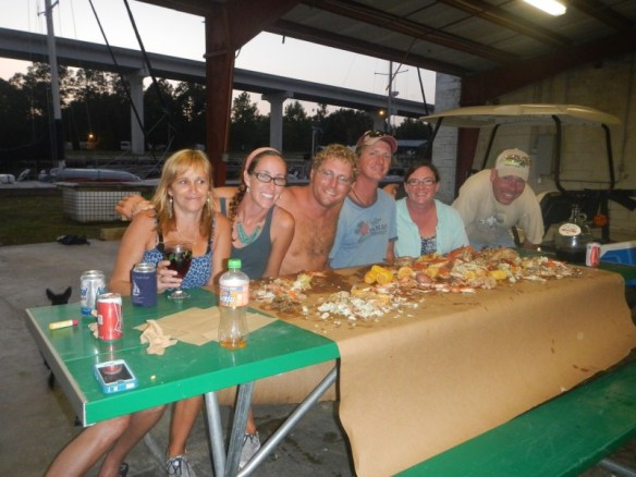 "Tammy, Ashley, Élan, Nick, Stacy and Bob, feasting on a ""low country boil"""