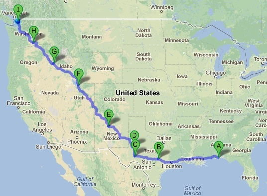 Our route: 2,900 miles through X states in 6 days.