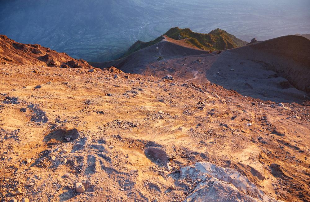 Climbing down Mt. Merapi