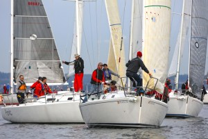 Back in 2014 the J/105s jockeyed for position at the start of another not-so-windy Three Tree Point Race. Jan Anderson Photo.