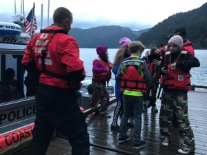 The kids from Stevens Middle School got a ride across Lake Crescent when the road was blocked.