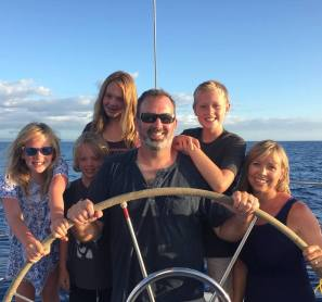 Sail Maui Crew Change, Don Prestage and family at the helm sailing on Maui