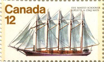 Пятимачтовая шхуна Malahat, марка Канады, 1977