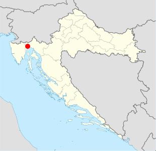 Фиуме (Риека) на карте современной Хорватии