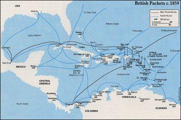 Маршруты Британских почтовых кораблей в Карибском море