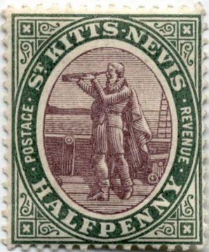 Колумб на марке Сент Киттс и Невис