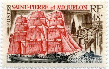 марка с парусником Сень-Пьер и Микелон