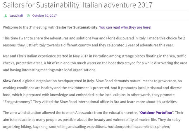 Sailors for Sustainability at Sustainable Tourism World about Italy and Sardex