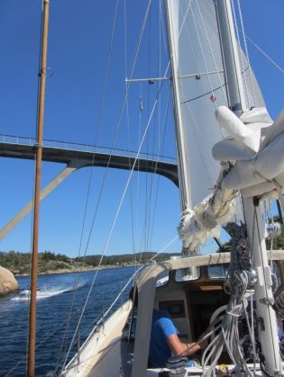 Our first inshore trip: we fit exactly underneath the 19m high bridge