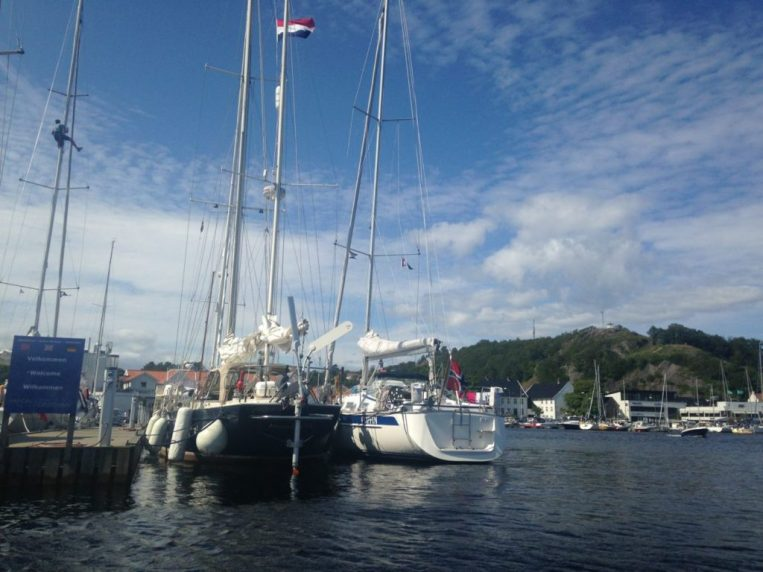 "Beautiful Mandal, Lucipara2 moored next to ""Puffin"" – Leif & Marit's boat"