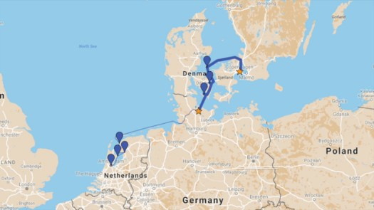Our route from Kiel to Copenhagen