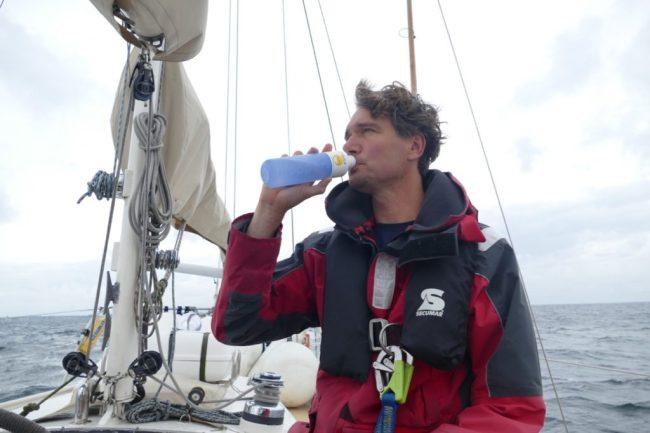 Ivar drinking from his Dopper bottle