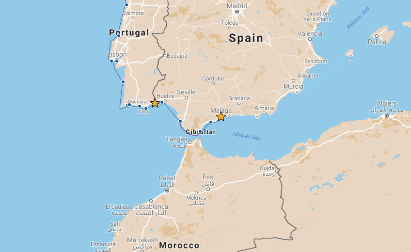 Our route from RioGuadiana to Malaga