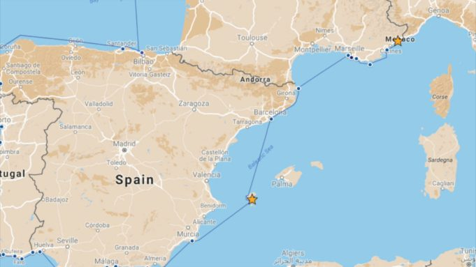Our route from Ibiza to Nice