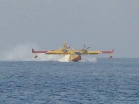 Firebrigade plane filling water