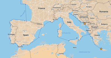 Our route from Dubrovnik to Chania