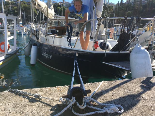 "Rusty bollards in Pylos ""free-range"" marina"