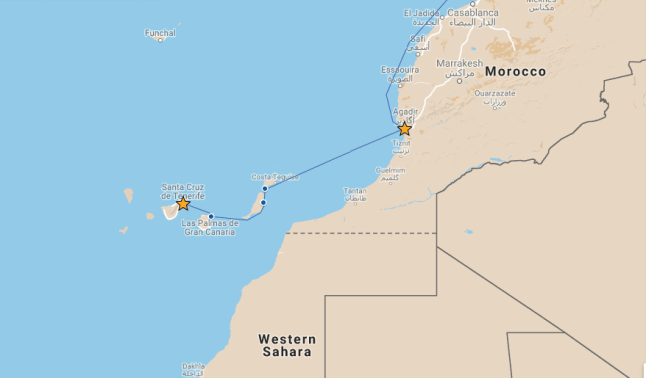 Our route from Agadir to Tenerife