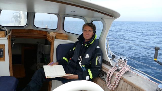 Updating our logbook in a gentle Atlantic Ocean