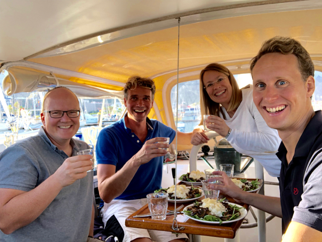 Floating dinner with Falk and Susanne