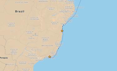 Our route from Ilheus to Rio de Janeiro