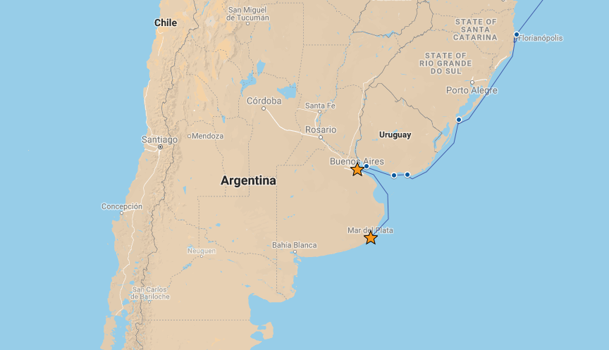 Our route from Buenos Aires to Mar del Plata