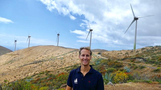Floris at the wind turbines on El Hierro