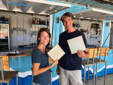 Fleur and Ivar with the recycled plastic tiles