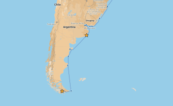 Our route from Mar del Plata to Ushuaia