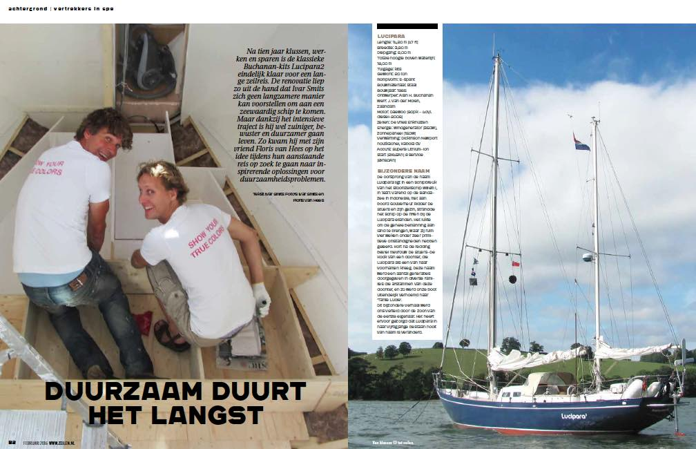 Article 2 Sailors for Sustainability in Zeilen 201502 about Preparations