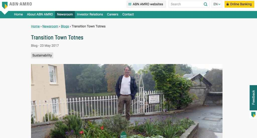 Blog 12 Eng Sailors for Sustainability at ABN AMRO Transition Town Totnes
