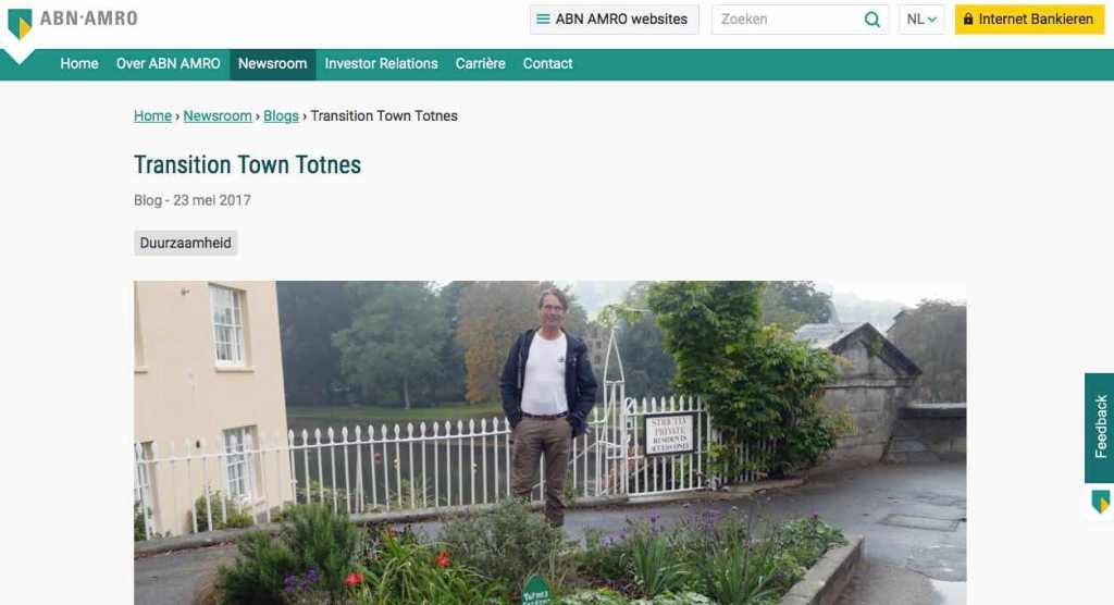 Blog 12 NL Sailors for Sustainability at ABN AMRO Transition Town Totnes