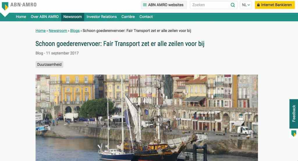 Blog 15 NL Sailors for Sustainability at ABN AMRO Fair Transport
