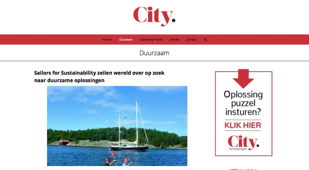 Sailors for Sustainability at Citynieuws 201807